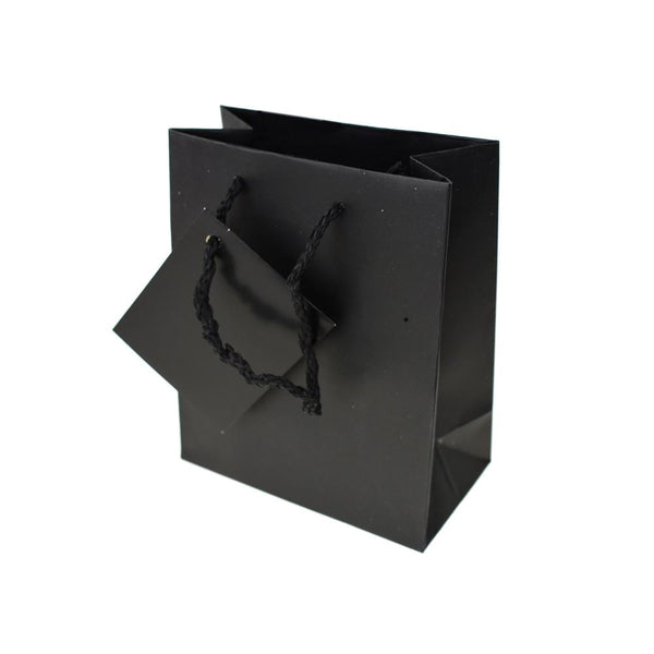 Solid Colored Matte Gift Bag with Tag, Black, 5-1/4-Inch