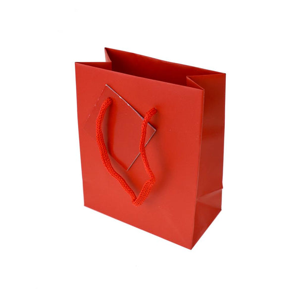 Solid Colored Matte Gift Bag with Tag, Red, 5-1/4-Inch