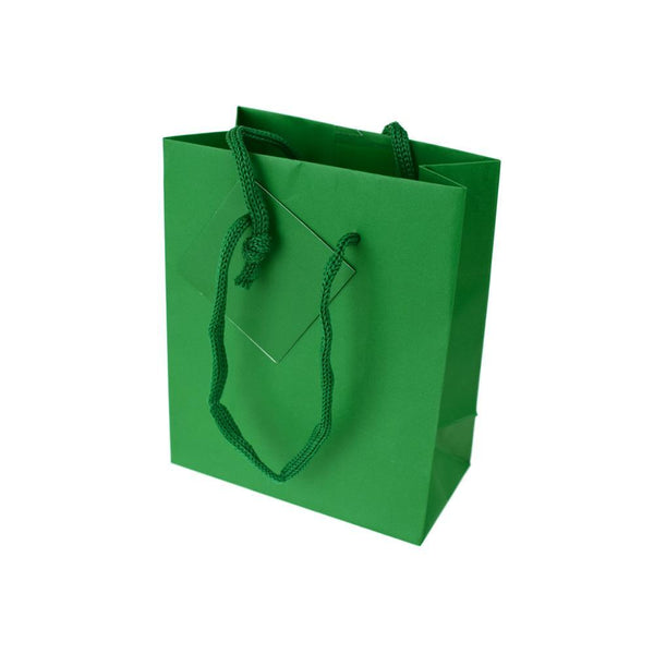 Solid Colored Matte Gift Bag with Tag, Hunter, 5-1/4-Inch