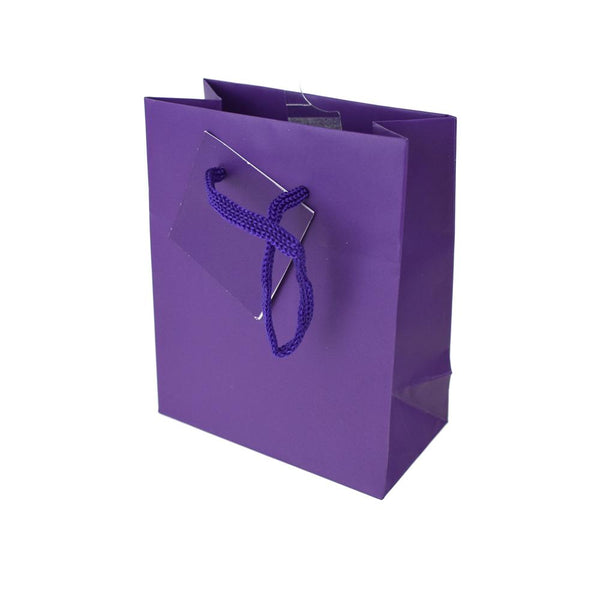 Solid Colored Matte Gift Bag with Tag, Purple, 5-1/4-Inch
