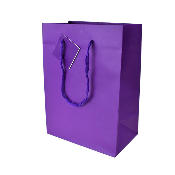 Solid Colored Matte Gift Bags with Tag, 9-1/2-Inch, Purple
