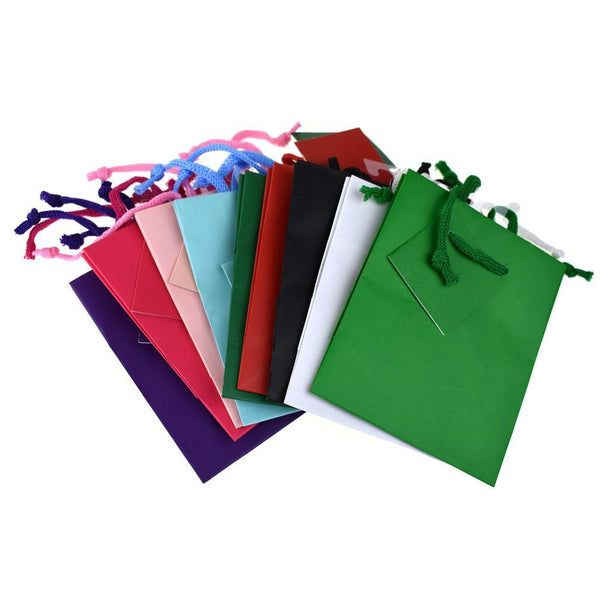 Solid Colored Matte Gift Bags with Tag, 5-1/4-Inch