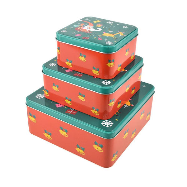 Tiered Square Santa Christmas Cookie Tin Containers, 3-Piece