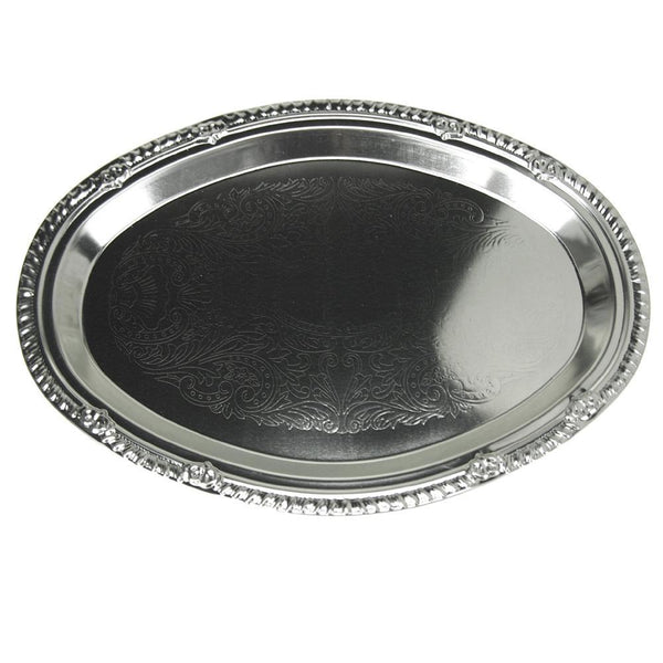 Embossed Oval Chrome Serving Plate, 12-Inch