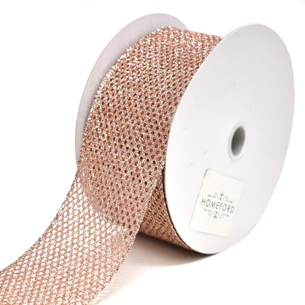 Frosted Glitter Net Wired Christmas Ribbon, Blush, 2-1/2-Inch, 20-Yard
