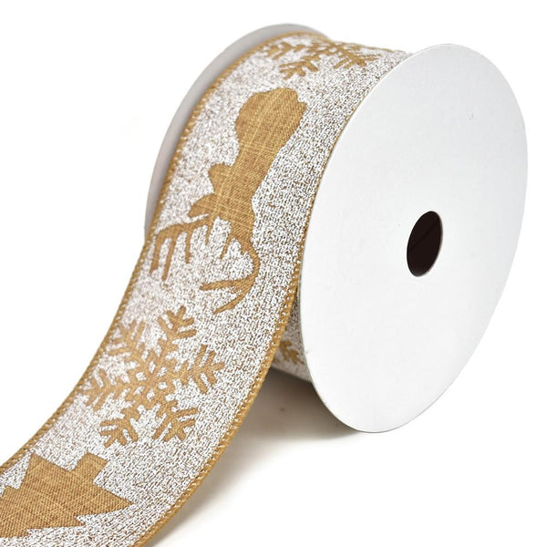 Winter Woods Printed Wired Christmas Ribbon, 2-1/2-Inch, 10-Yard, Natural
