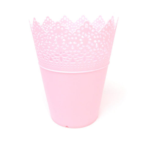 Crochet Styled Plastic Bucket Party Favor, Pink, 7-1/2-Inch, 12-Count