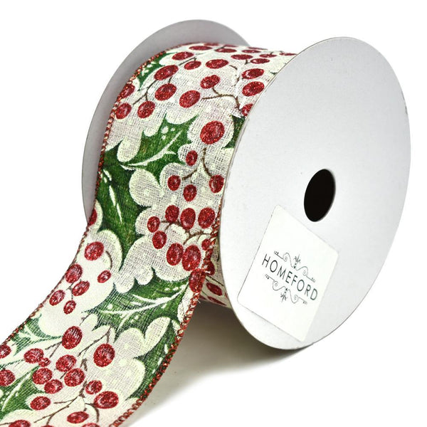 Holly Berry Wired Christmas Ribbon, 2-1/2-Inch, 10-Yard