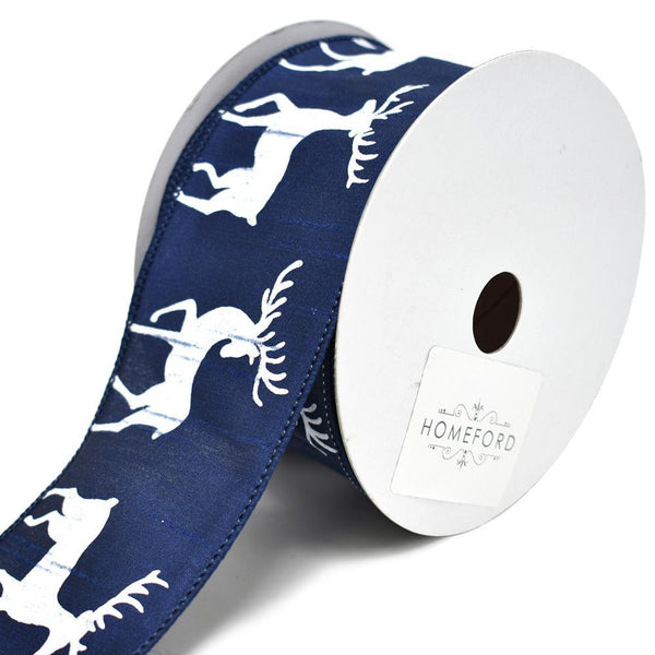 Oh Deer Dupioni Wired Ribbon, Navy, 2-1/2-Inch, 10-Yard