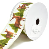 Deer and Trees Woodlands Christmas Wired Ribbon, 2-1/2-Inch, 10-Yard