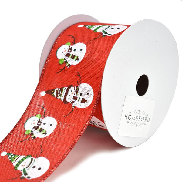 Dancing Snowmen Christmas Wired Ribbon, Red/White, 2-1/2-Inch, 10-Yard