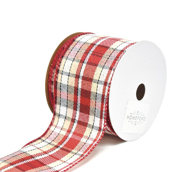 Inverness Twill Plaid Wired Christmas Ribbon, 2-1/2-Inch, 10-Yard