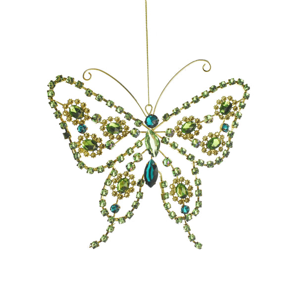 Rhinestone Butterfly Christmas Ornament, 7-Inch