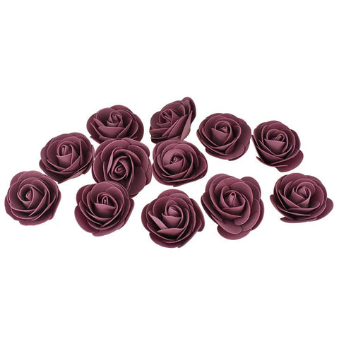 Craft Foam Roses, Mauve, 3-Inch, 12-Count