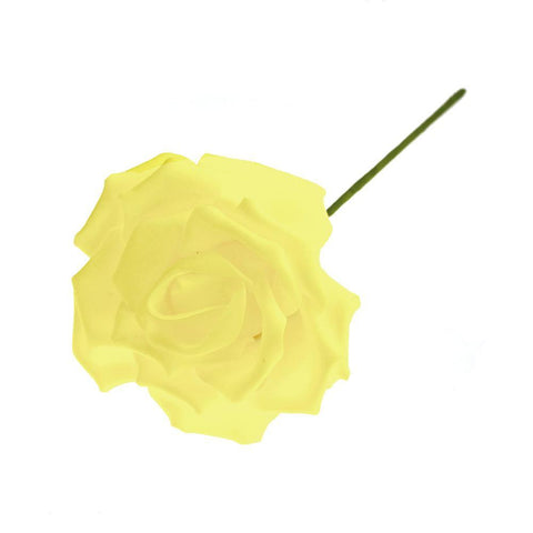 Rose Foam Flower with Stem, Yellow, 6-Inch