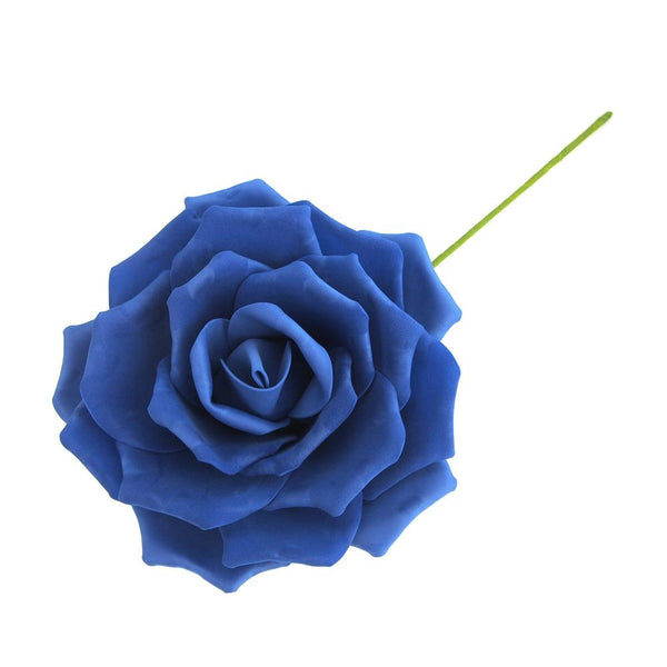 Rose Foam Flower with Stem, Royal Blue, 9-Inch