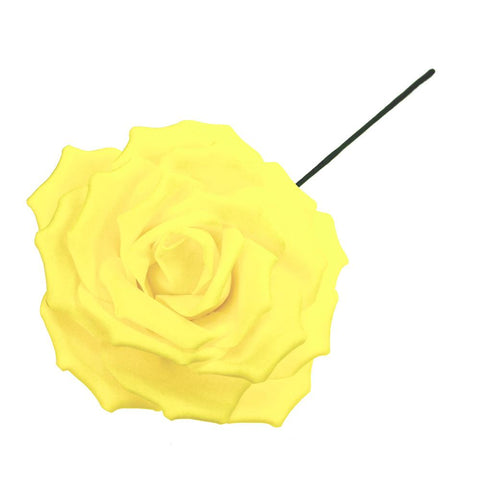 Rose Foam Flower with Stem, Yellow, 9-Inch