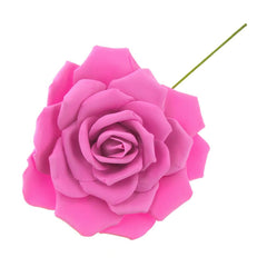 Rose Foam Flower with Stem, Fuchsia, 13-Inch