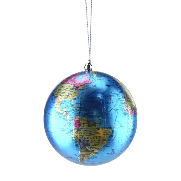 Miniature Map Of Globe Christmas Ornament, 4-Inch