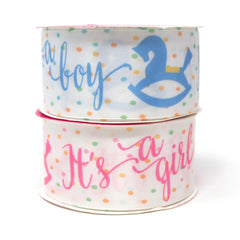 """It's a Boy/Girl"" Rocking Horse Satin Ribbon, 1-1/2-Inch, 3-Yard"