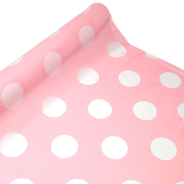 Polka Dot Plastic Table Roll Uncut, Pink, 40-Inch x 100-Inch
