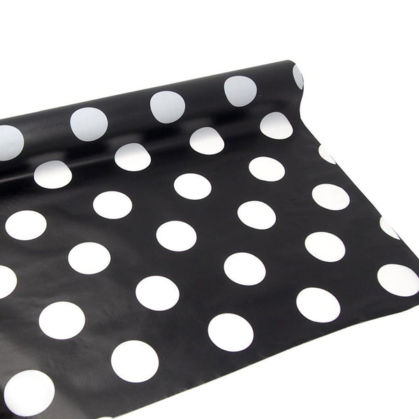 Polka Dot Plastic Table Roll Uncut, Black, 40-Inch x 100-Inch