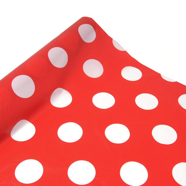 Polka Dot Plastic Table Roll Uncut, Red, 40-Inch x 100-Inch