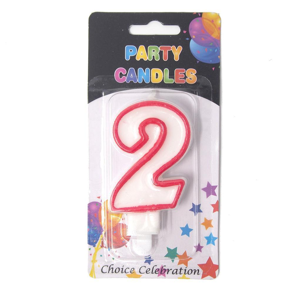 Number 2 Birthday Candle White Red 1 Inch