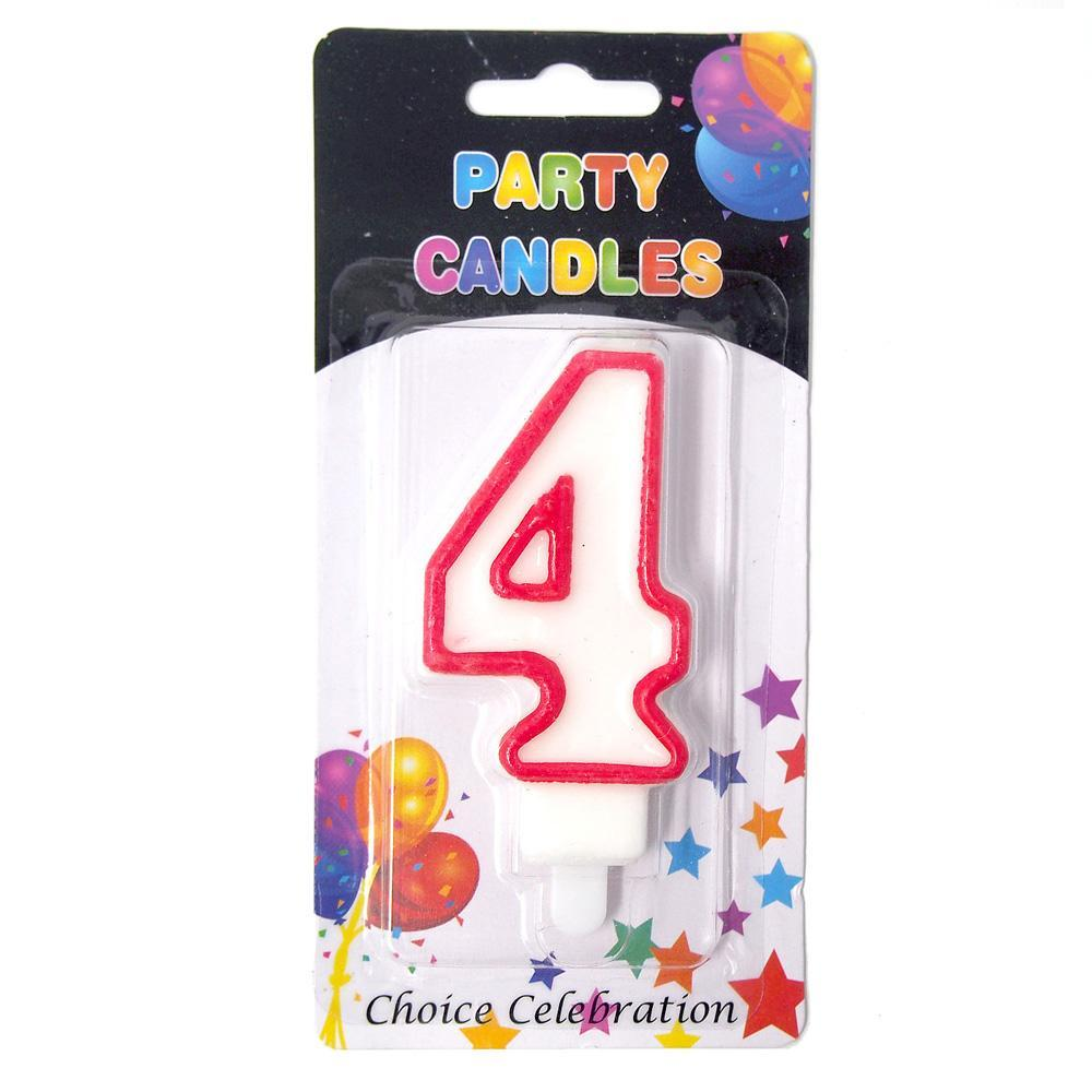 Number 4 Birthday Candle White Red 2 1 Inch