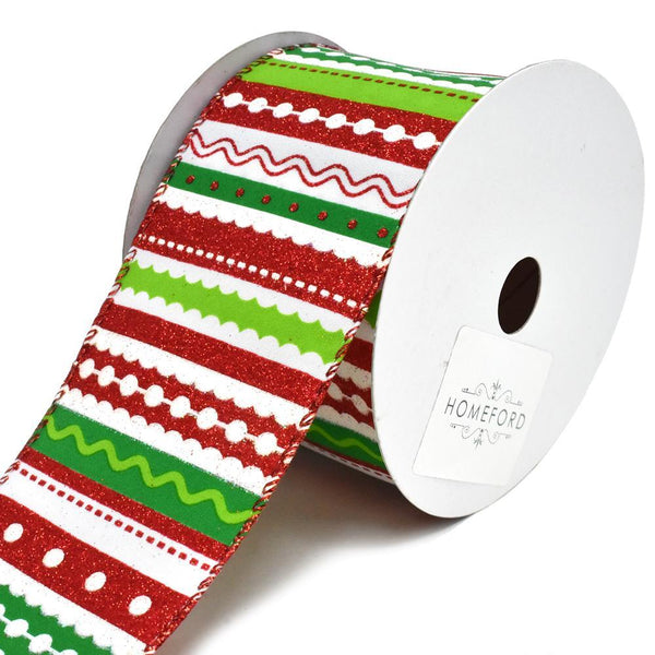 Frolic Festive Stripes Wired Christmas Ribbon, 2-1/2-Inch, 10-Yard