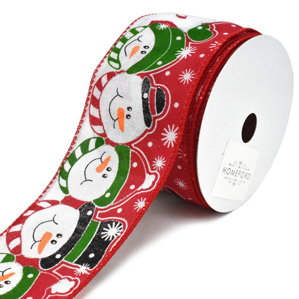 Snowman Friends Printed Wired Christmas Ribbon, 2-1/2-Inch, 10-Yard