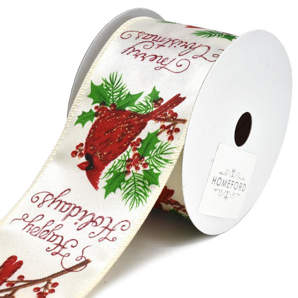 Cardinal Greetings Satin Wired Christmas Ribbon, 2-1/2-Inch, 10-Yard