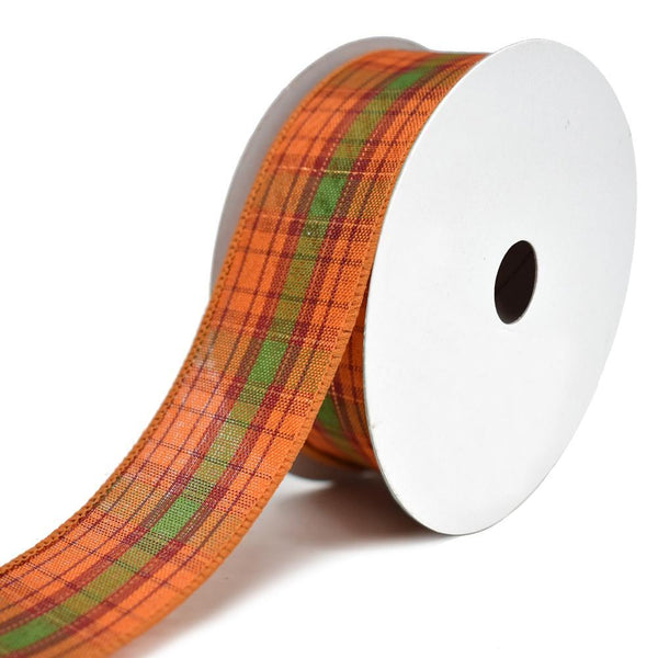Metallic Plaid Fall Accents Wired Ribbon, 1-1/2-Inch, 20-Yard