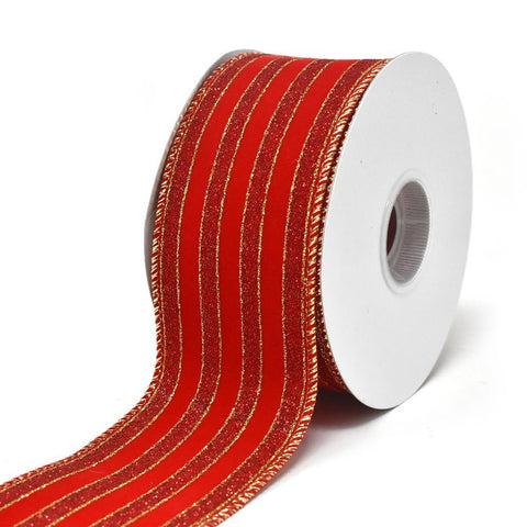 Glitter Stripe Velvet Wired Edge Ribbon, 2-1/2-Inch, 10-Yard
