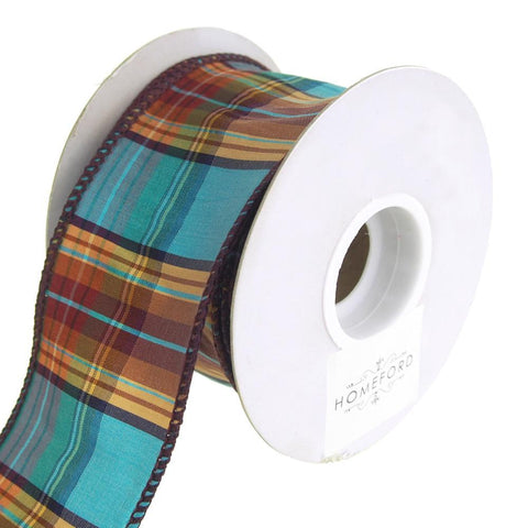 Elizabeth Plaid Wired Dupioni Ribbon, Turquoise, 2-1/2-Inch, 10 Yards