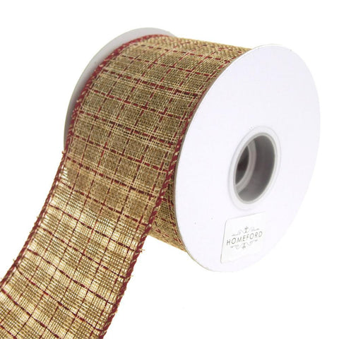Augie Checkered Linen Saddle Stitch Wired Holiday Ribbon, Cream/Red, 2-1/2-Inch, 10 Yards