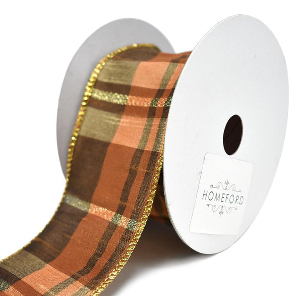 Metallic Plaid Mary Wired Dupioni Ribbon, 2-1/2-Inch, 10-Yard