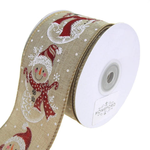 Snowman Row Linen Wired Christmas Holiday Ribbon, Natural, 2-1/2-Inch, 10 Yards