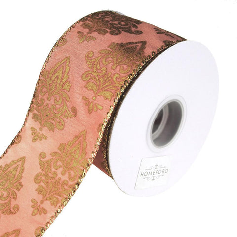 Victorian Scroll Wired Holiday Ribbon, Pink/Gold, 2-1/2-Inch, 10 Yards