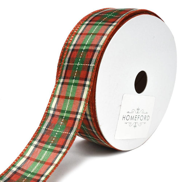 Denver Plaid Polyester Wired Christmas Ribbon, 1-1/2-Inch, 25-Yard