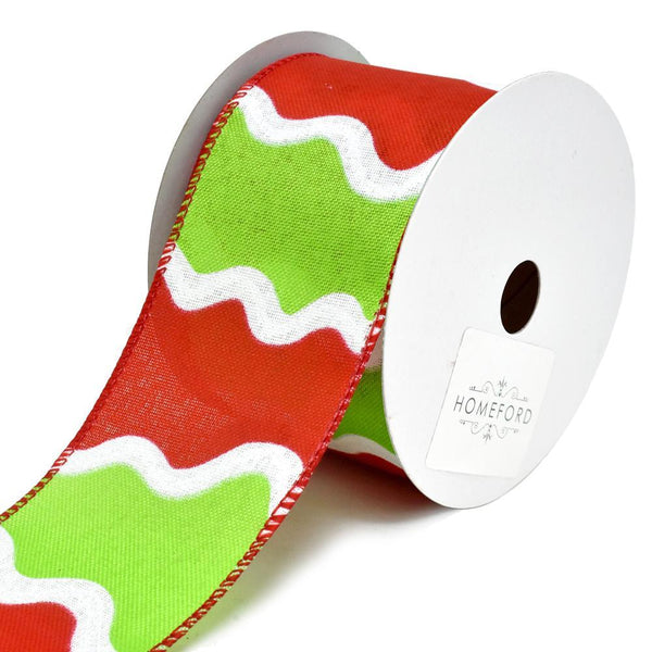 Festive Holiday Squiggle Wired Christmas Ribbon, Red/Lime, 2-1/2-Inch, 10-Yard