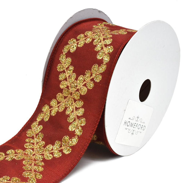Glitter Filigree Crest Scroll Dupioni Wired Christmas Ribbon, Scarlet, 2-1/2-Inch, 10-Yard