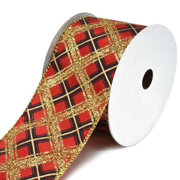 Glitter Diagonal Plaid Buffalo Wired Christmas Ribbon, 2-1/2-Inch, 10-Yard