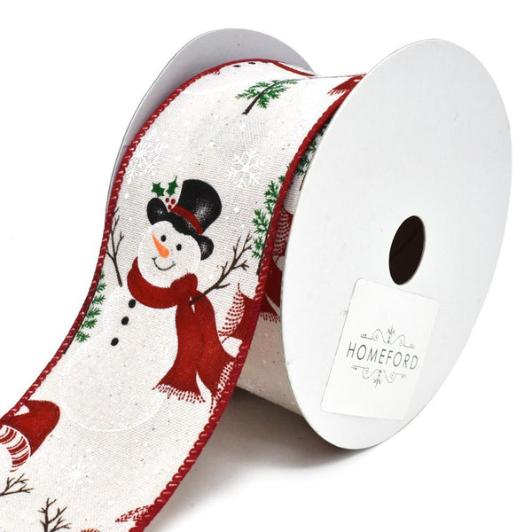 Glitter Snowman and Scarf Muslin Wired Christmas Ribbon, 2-1/2-Inch, 10-Yard