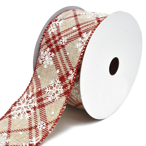 Snowflake Plaid Lattice Wired Christmas Ribbon, 2-1/2-Inch, 10-Yard