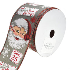 Vintage Santa Claus Wired Christmas Ribbon, 2-1/2-Inch, 10-Yard