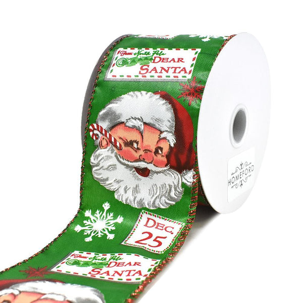 Christmas Vintage Letters to Santa Wired Ribbon, 2-1/2-Inch, 10-Yard