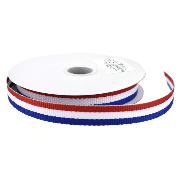 Red, White, and Blue Stripes Ribbon, 3/8-Inch, 4-Yard