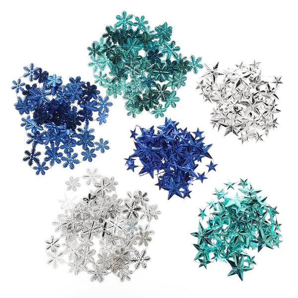 Snowflake & Star Metallic Plastic Christmas Garlands, 84-Inch, 6-Piece