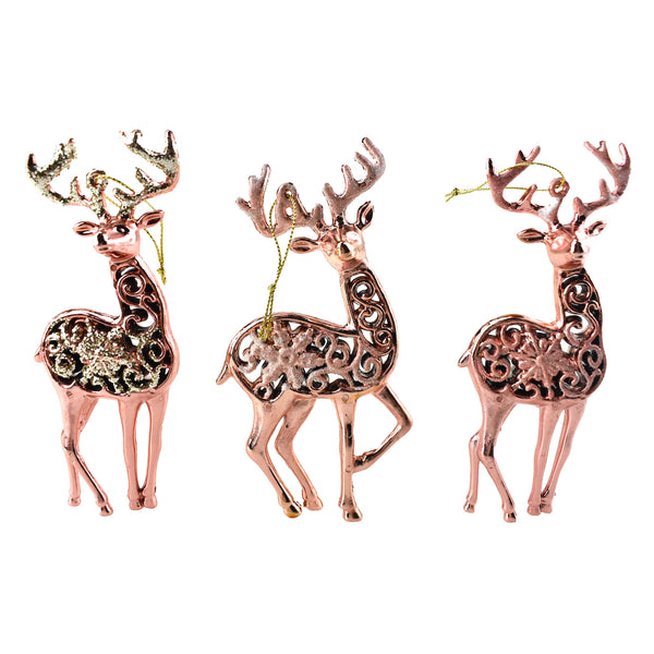 Metallic and Glitter Deer Ornaments, Rose Gold, 5-1/2-Inch, 6-Piece